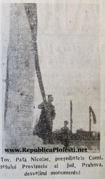 23 august 1949 - dezvelirea monumentului sovietic