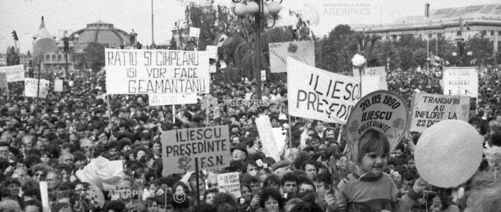 Demonstrație FSN la Ploiești în 1990